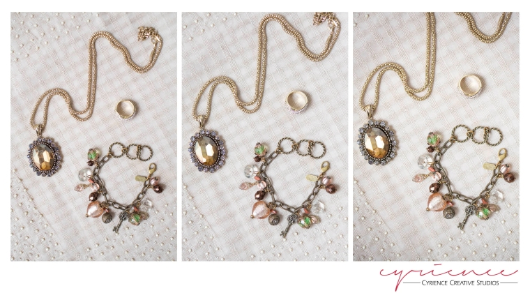 Macro lens comparison with vintage-style jewelry