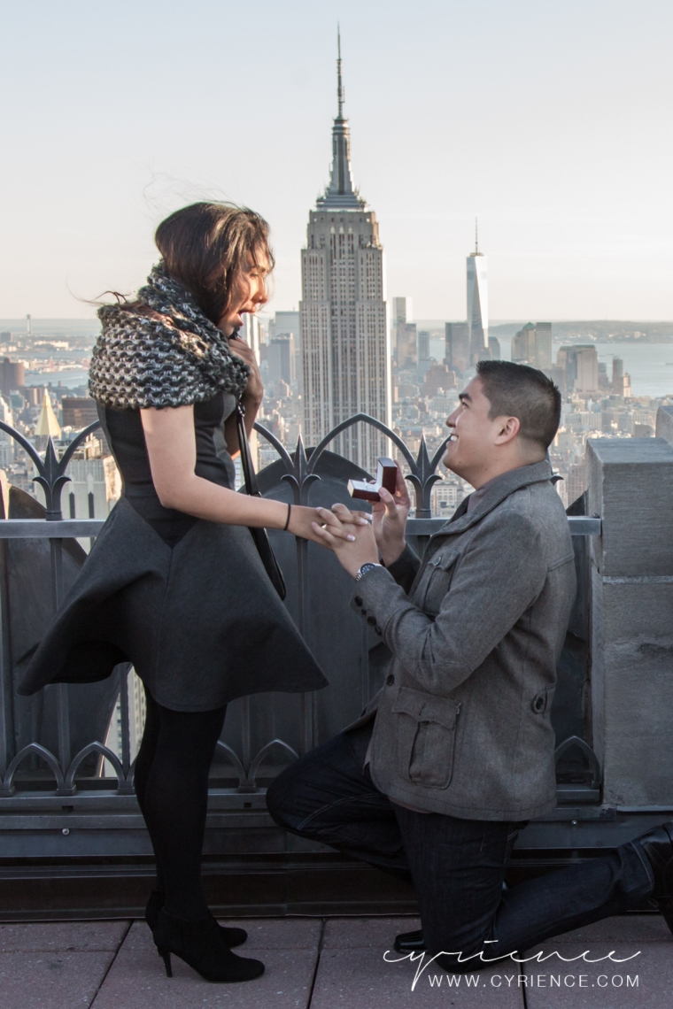 Secret Proposal at the Top of the Rock, Midtown Manhattan Photography by NYC Lifestyle Photographer Cyrience Creative Studios