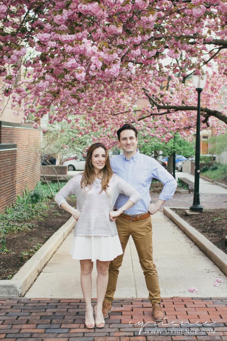 Philadelphia engagement session at the University of Pennsylvania, UPenn in springtime