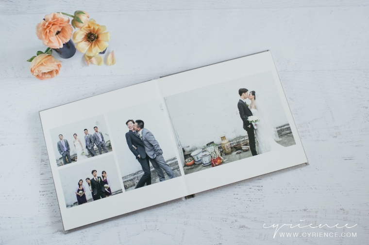 Signature Wedding Album with grey silk cover fabric from Cyrience Creative Studios