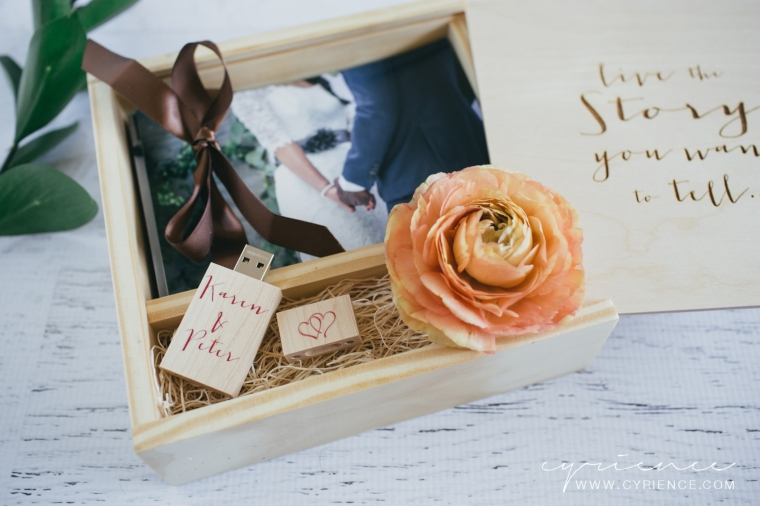 Wooden Keepsake Box holds a full set of print proofs and the USB flash drive.