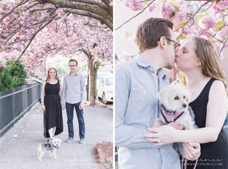 Lisa and Tom Engagement Session with their pup Charlee around Jersey City, including their backyard and Morris Canal Park.
